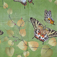 Постельное белье полуторное  Инесс зеленое с бабочками