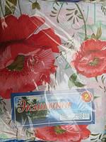Постельное белье полуторное Инесс на белом красные маки