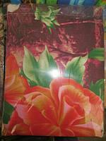 Постельное белье полуторное красные цветы