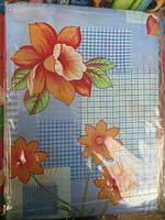 Постельное белье полуторное на голубом оранжевые цветы