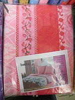Полуторное постельное белье розовое в полоску