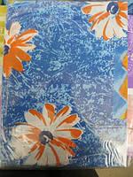 Постельное белье полуторное голубое с цветами