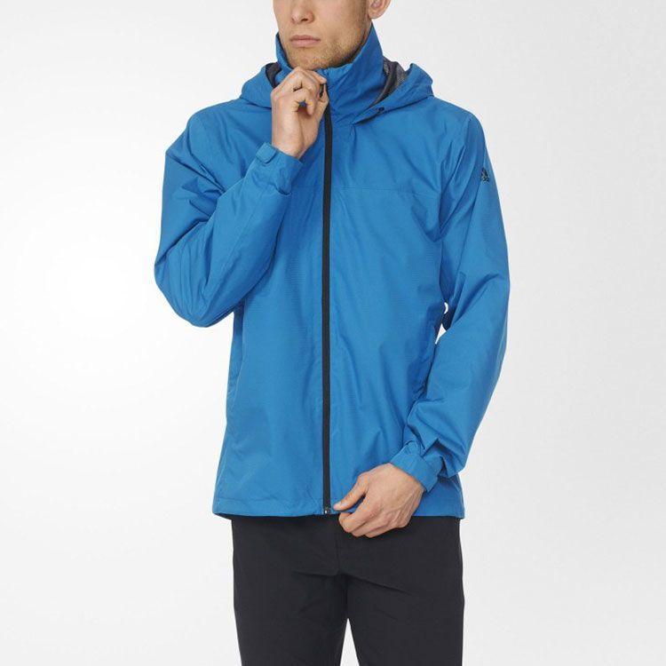 9b1f9e4a ... логотип Ветровка спортивная мужская adidas Wandertag J SOL AP8352  (светло-синяя, непромокаемая, ...