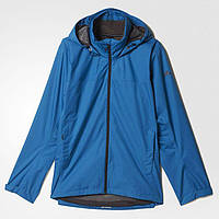Ветровка спортивная мужская adidas Wandertag J SOL AP8352 (светло-синяя, непромокаемая, логотип адидас)