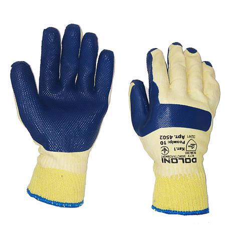 Перчатки для строителей, нейлоновые, латексный двойной облив DOLONI, уп. — 12 пар, фото 2