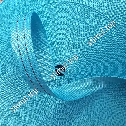 Тесьма полиэстеровая 40 мм х 50 метров - лента для стяжных ремней голубая, фото 2