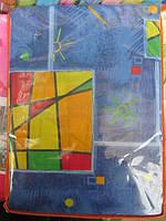 Постельное белье на синем цветные кубики