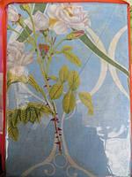 Постельное белье двуспальное на голубом розы