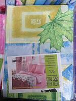 Постельное белье двуспальное с зелеными листочками