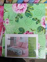 Постельное белье двуспальное на салатовом розовые розы