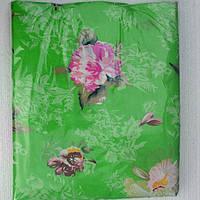 Постельное белье двуспальное на салатовом розовые цветочки