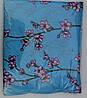 Постельное белье двуспальное на голубом розовые цветочки