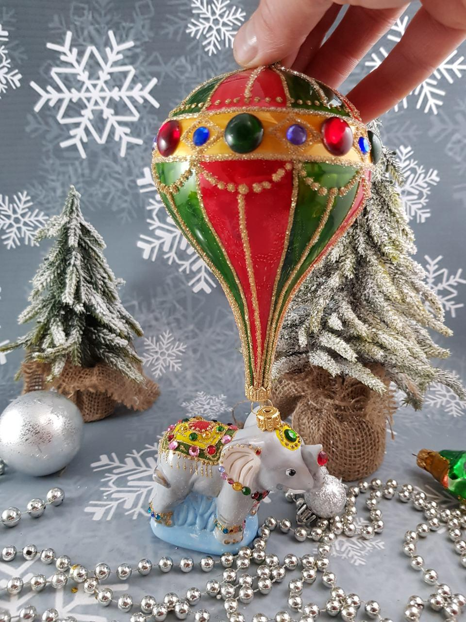 Стеклянная елочная игрушка Слоник на парашюте 28 см Irena