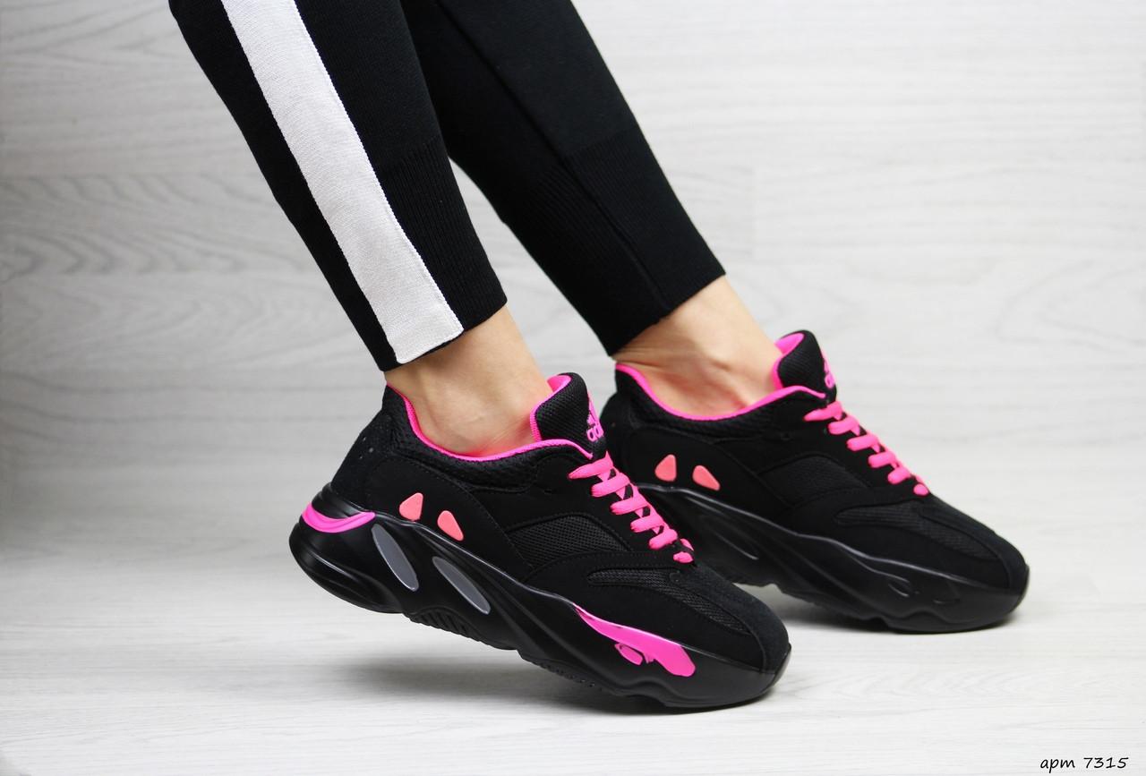 Модные женские кроссовки Adidas x Yeezy Boost 700 Black/Pink (реплика)