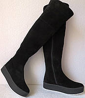 Демисезонные женские замшевые ботфорты Lion на змейке черного цвета флис, фото 1