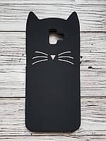 Объемный 3D силиконовый чехол для Samsung J610F Galaxy J6 Plus 2018 Черный усатый кот