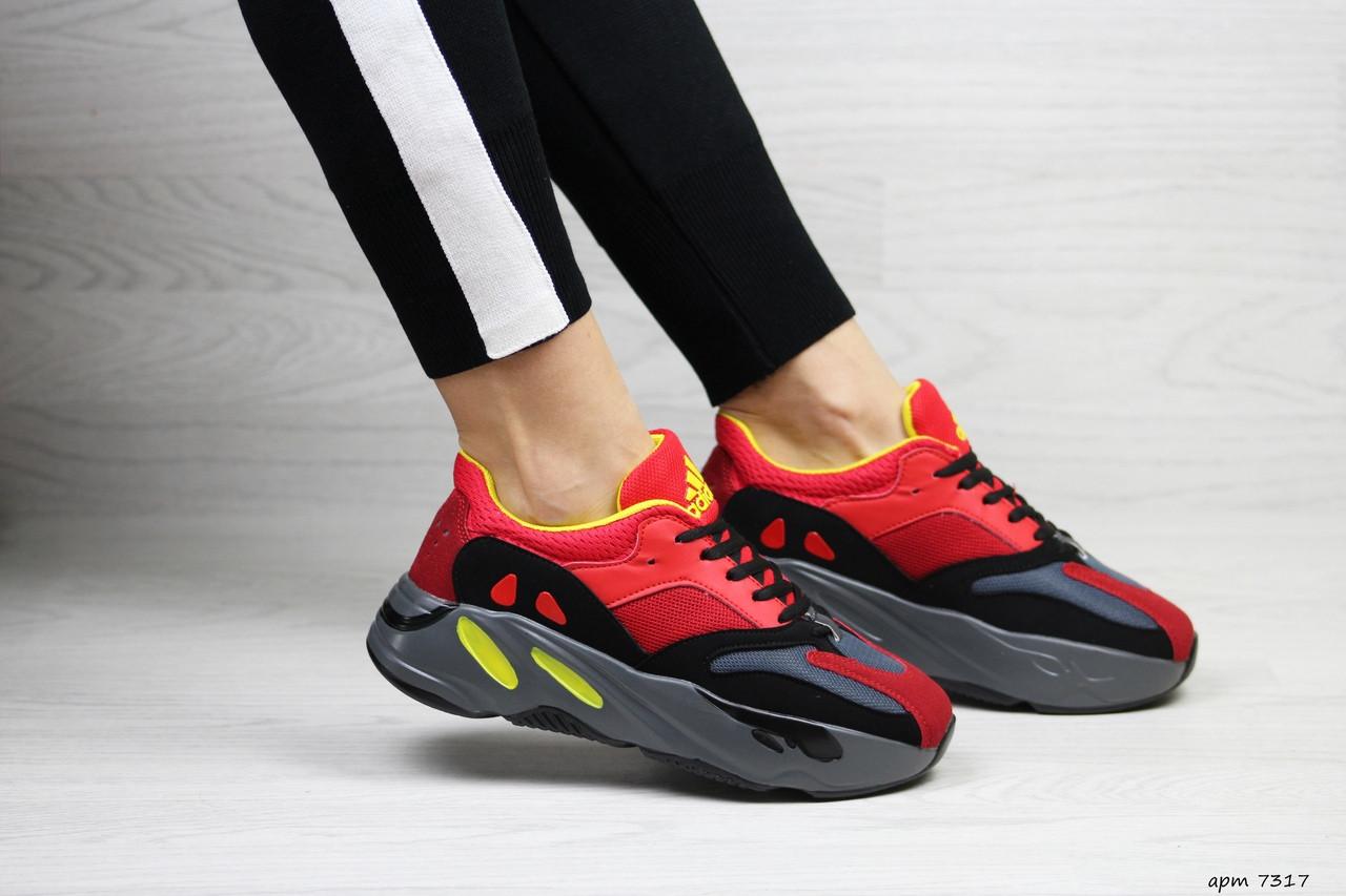 Модные женские кроссовки Adidas x Yeezy Boost 700 Red/Black (реплика)