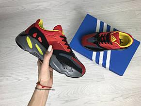 Модные женские кроссовки Adidas x Yeezy Boost 700 Red/Black (реплика), фото 3