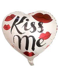 """Шарик воздушный фольга в форме сердца """"Kiss Me"""""""