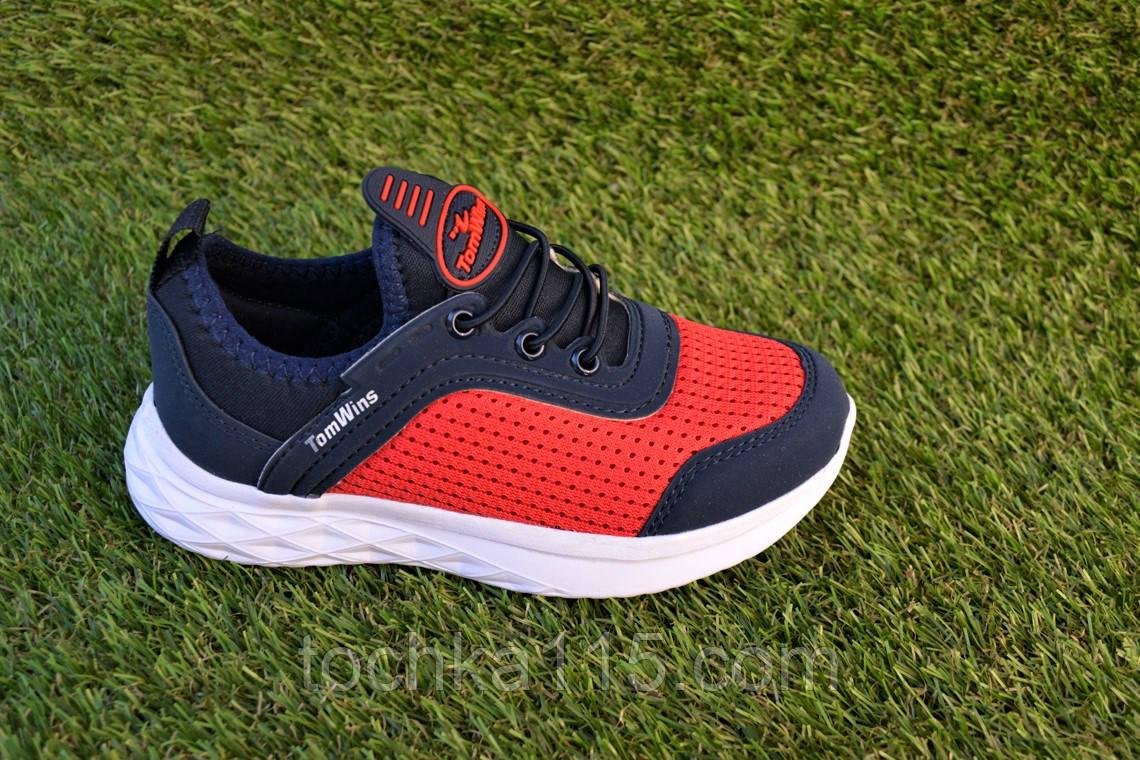 Детские кроссовки сетка Nike синие с красным на резинке р31 - 35, копия