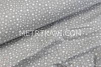 Ткань бязь с мелкими звёздами белыми и прозрачными на графитовом фоне № 435