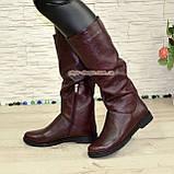 Сапоги-трубы женские кожаные демисезонные бордового цвета., фото 2