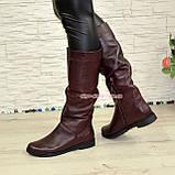 Сапоги-трубы женские кожаные демисезонные бордового цвета., фото 4