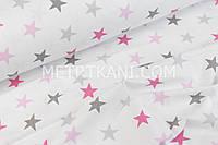 Ткань с  звёздами 4 см серо-розовыми