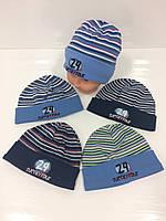 Детские демисезонные трикотажные шапки оптом для мальчиков, р.50-52 L, Fido (Польша)