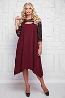 Женское платье свободного кроя Анабель / размер 48-58 / цвет бордо