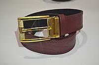 Мужской классический кожаный бордовый ремень
