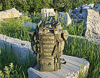 Туристический армейский крепкий рюкзак на 75 литров олива. Нейлон 600D.