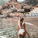 Раздельный женский купальник белый в горох в рюшами , фото 6