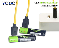 ААА YCDC пальчиковый Li-po аккумулятор 400мАч 1.5В с USB кабелем