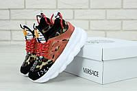 Жіночі леопардові кросівки Versace Chain Reaction Leopard (Версаче), фото 1