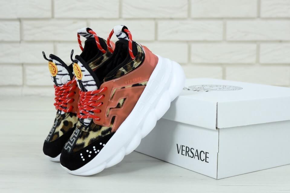Женские леопардовые кроссовки Versace Chain Reaction Leopard (Версаче)
