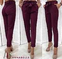 Женские модные брюки с поясом. Бордовый, 5 цветов.