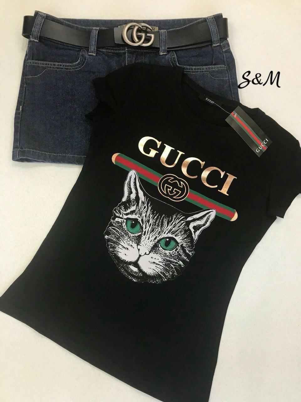Футболка женская Gucci Размер:42-46,универсальный  Ткань:70%котон,30%эластан, производство Турция
