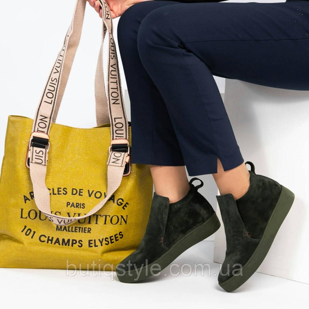 Женская вместительная сумка- шоппер с принтом горчичная, Турция
