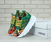 Женские модные зеленые кроссовки Versace Chain Reaction Green (Версаче)