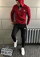 Мужской спортивный костюм New Balance | Нью Беленс | Костюм спортивний Нью Беленс (Бордово-Черный)