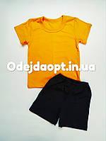 Детский комплект желтая футболка и черные шорты