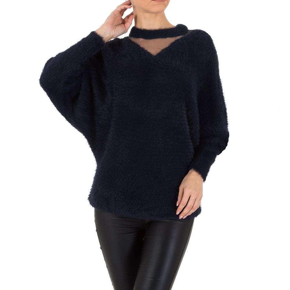Женский свитер травка с рукавами летучая мышь Voyelles (Италия), Темно-синий