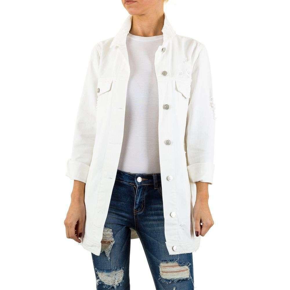 Джинсовая белая куртка длинная от бренда Shk Paris (Франция) Белый