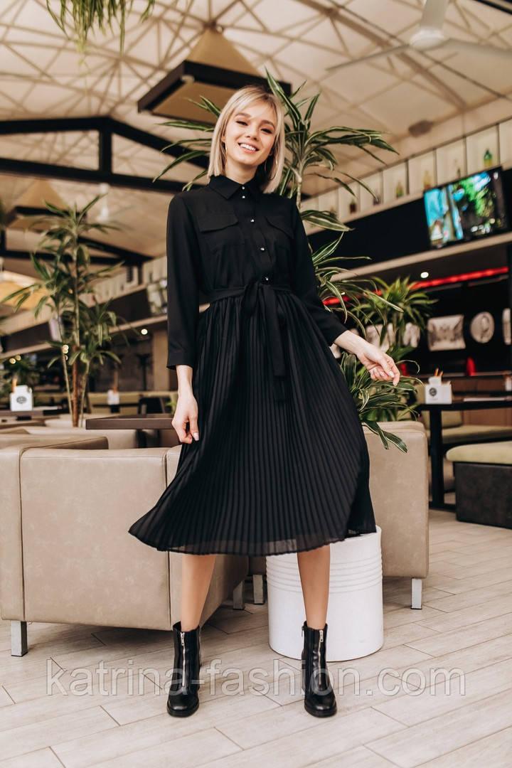 Женское модное платье с плиссировкой