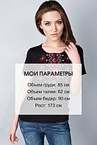 """Футболка вышиванка """"Орнамент красный"""" черная KRAYKA, фото 3"""