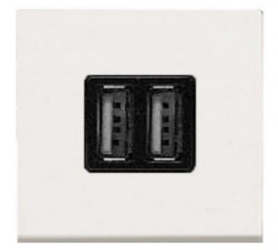 Розетка USB,  белый цвет Zenit ABB NIESSEN N2285 BL, 2 модуля