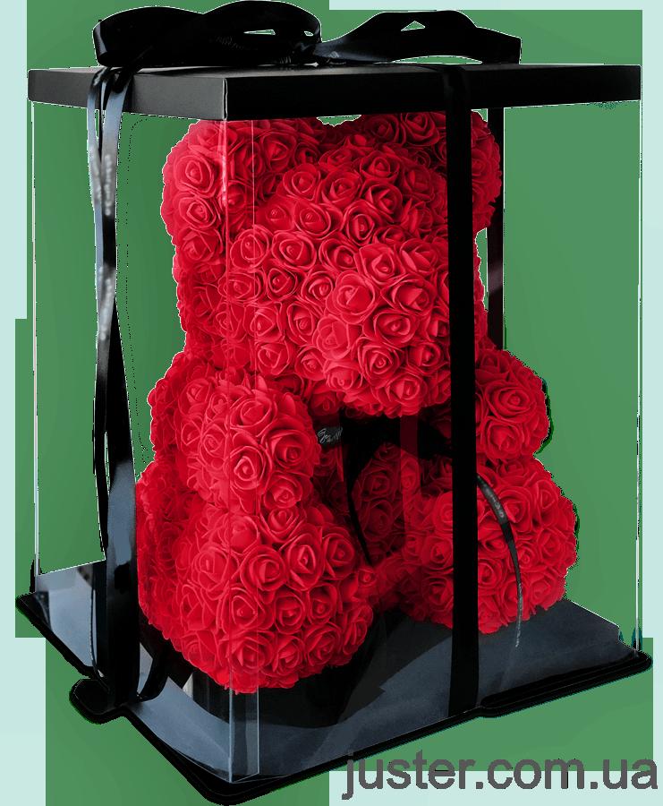 Уникальный мишка из 3d роз Happy Teddy 40 см красный в подарочной коробке
