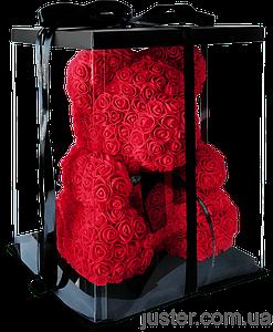 Мишка из 3d роз ручной работы Happy Teddy 40 см красный в подарочной коробке