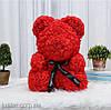 Уникальный мишка из 3d роз Happy Teddy 40 см красный в подарочной коробке , фото 2